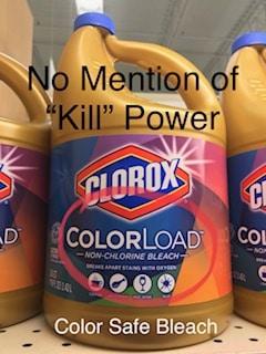 image comparison of color safe bleach label vs clorox regular bleach label for killing parvo